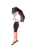 A real lady with umbrella Stock Image