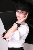 A real lady with umbrella Royalty Free Stock Photography