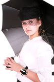A real lady with umbrella Stock Photography