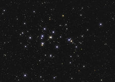 Real large star cluster M44 or NGC 2632 the Beehive Cluster in the constellation Cancer in Northern sky taken with CCD camera and Stock Images