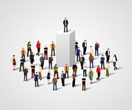 Real Leader. Business Man on pedestal in crowd. Big boss or superiority concept. Royalty Free Stock Image