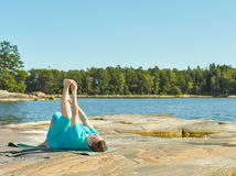 Real-life fitness training, mature woman Stock Photos