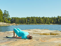 Real-life fitness training, mature woman Stock Photo