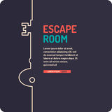 Real-life room escape and quest game poster. Illustration of key. Real-life room escape and quest game poster Stock Images