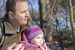 Real Life Series - Father And Baby In Park Stock Photo