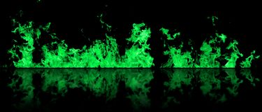 Real line of fire flames with reflection isolated on black background. Mockup on black of wall of fire. Real fire line flames with reflection isolated on black Stock Photos