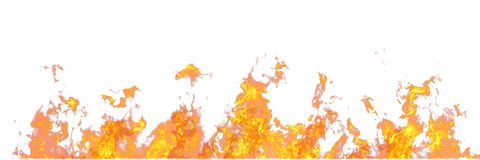 Free Real Line Of Fire Flames Isolated On White Background. Mockup On White Of Wall Of Fire. Stock Images - 122103574