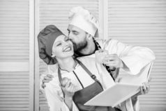 Real love. vegetarian. cook uniform. Dieting vitamin. culinary. happy couple in love with health food. man and woman royalty free stock photography