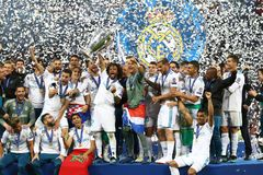 Real Madrid 2018 del final de la liga de campeones de UEFA v Liverpool, Kiev, imágenes de archivo libres de regalías