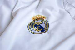 Real Madrid emblem. Spanish football club Real Madrid emblem on football shirt Stock Photos