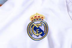 Real Madrid emblem. Spanish football club Real Madrid emblem on football shirt Royalty Free Stock Photography