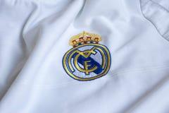 Real Madrid emblem. Spanish football club Real Madrid emblem on football shirt Royalty Free Stock Image