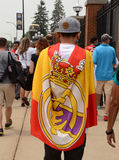 Real Madrid fan in Ann Arbor. ANN ARBOR, MI - AUGUST 2:  Real Madrid fan walks outside Michigan stadium before  the International Champions Cup game against Royalty Free Stock Photography