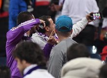 Real Madrid fans with take a selfie Royalty Free Stock Photos