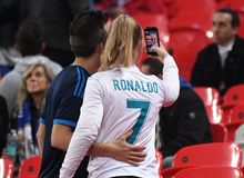 Real Madrid fans take a selfie Stock Images