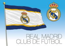Real Madrid football club flag and crest, Spain 2018. Real Madrid flag and crest, European Championship 2018 finalist, editorial Royalty Free Stock Images