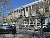 Real Madrid Football Stadium. Madrid, Spain April 7 2016: Estadio Santiago Bernabeu soccer stadium of the Spanish football club Real Madrid, Madrid, Spain stock image