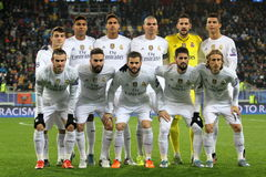 Real Madrid. LVIV, UKRAINE - OCT 25: Group photo of Real Madrid players during the UEFA Champions League match between Shakhtar vs Real Madrid, 25 October 2015 Royalty Free Stock Photos