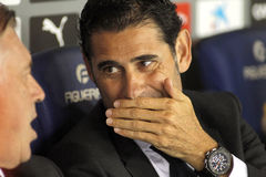 Real Madrid Sporting Director Manolo Hierro. During the Spanish Kings Cup match against UE Cornella at the Estadi Cornella on October 29, 2014 in Barcelona Royalty Free Stock Image
