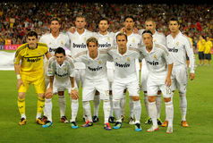 Real Madrid Team. Posing before the Spanish Supercup football match between Barcelona vs Real Madrid at the New Camp Stadium in Barcelona, on August 17, 2011 Royalty Free Stock Photos