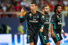 REAL MADRID V MANCHESTER UNITED: UEFA SUPER CUP. Skopje, FYROM - August 8,2017: Real Madrid Cristiano Ronaldo during the UEFA Super Cup Final match between Real royalty free stock photo