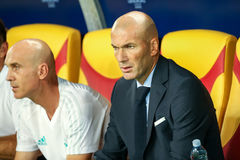 REAL MADRID V MANCHESTER UNITED: UEFA SUPER CUP. Skopje, FYROM - August 8,2017: Real Madrid coach Zinédine Zidane during the UEFA Super Cup Final match between Royalty Free Stock Photos