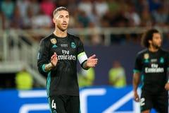 REAL MADRID V MANCHESTER UNITED: UEFA SUPER filiżanka obrazy stock