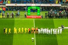 Real Madrid versus Villareal futbolu klub obraz stock