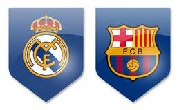 Real madrid vs barcelona. La liga teams Royalty Free Stock Photography