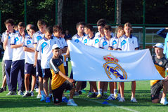 Real Madrid young football team. After International Youth Football Tournament U-17 08/19/2012 stadium Kirsha (Donetsk Royalty Free Stock Photo