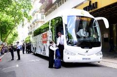 Real Madrid zawodowej piłki nożnej drużyny autobus fotografia royalty free
