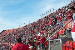 Real Mallorca audience Son Moix. PALMA DE MALLORCA, BALEARIC ISLANDS, SPAIN - MAY 28, 2017: Real Mallorca against Numancia audience Son Moix Iberostar Stadium on Royalty Free Stock Image