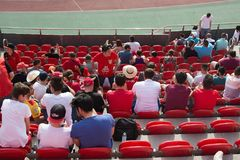 Real Mallorca audience Son Moix. PALMA DE MALLORCA, BALEARIC ISLANDS, SPAIN - MAY 28, 2017: Real Mallorca against Numancia audience Son Moix Iberostar Stadium on Stock Photo