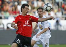 Real Mallorca Aritz Aduriz controling the ball. Real Mallorca and National team Striker Aritz Aduriz controls the ball during their first division soccer game in Royalty Free Stock Photography
