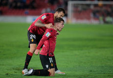 Real Mallorca players celebrating a goal. Real Mallorca players celebrate after scoring during their second division soccer league game in Palma de Mallorca Stock Image