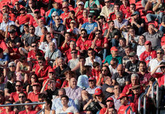 Real Mallorca soccer team supporters. During a match at home stadium in Mallorca, Spain Stock Photos