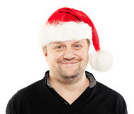 Real Mature Man in Santa Hat Isolated on White Royalty Free Stock Photos