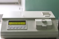 Real medical equipment for blood analysis. stock image