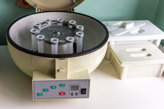 Real medical equipment for blood analysis. stock images