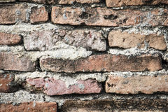 Real medieval brick wall surface can use as background pattern or texture with real light at old town Songkhla Thailand. (Vintage style Royalty Free Stock Photos