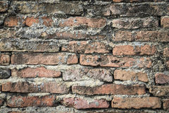 Real medieval brick wall surface can use as background pattern or texture with real light at old town Songkhla Thailand. (Vintage style Stock Photo