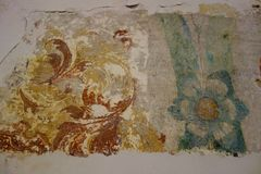 Real Medieval Painting Fresco Remnants Royalty Free Stock Photography