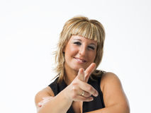 Real middle aged woman posing on white background Stock Images