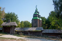 Real middle ages wooden orthodox church. Kiev, Ukraine stock photo