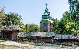 Real middle ages wooden orthodox church. In outdoors museum of wooden architecture in village Pirogovo near Kiev, capital of Ukraine stock photography