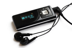 Real MP3 Player with headphones Royalty Free Stock Photos