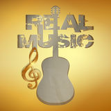 Real music gold stencil guitar Stock Photo