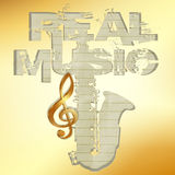 Real music gold stencil saxophone Stock Photos