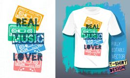 Real music lover lettering slogan retro sketch style tape cassette for t shirt design print posters kids boys girls. Hand drawn vector illustration royalty free illustration