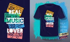 Real music lover lettering slogan retro sketch style tape cassette for t shirt design print posters kids boys girls. Hand drawn vector illustration vector illustration